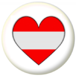 Austria Country Flag Heart 25mm Pin Button Badge